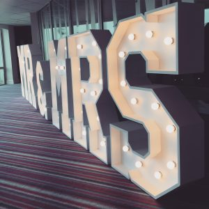 Mr & Mrs by South West Letter Lights at St Mellion